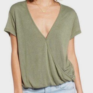 We The Free Olive Green Hoffman Wrap Top